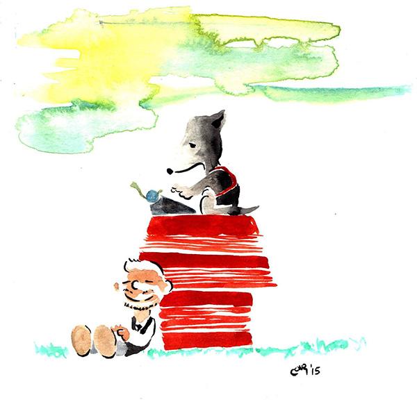 Frost y yo en versión Peanuts, por Entiman